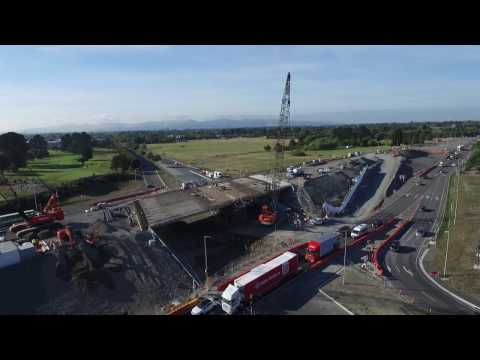 State Highway 1 Russley Road Upgrade March 2017 drone footage