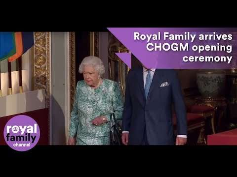 Royal Family arrives at the Official opening of Commonwealth Meeting at Buckingham Palace