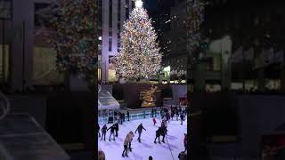 Christmas Tree at Rockefeller Center and People Ice Skating #1