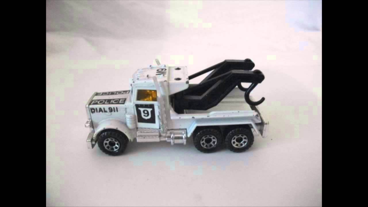 Flatbed Tow Truck >> Matchbox Peterbilt 1981 Police tow truck - YouTube