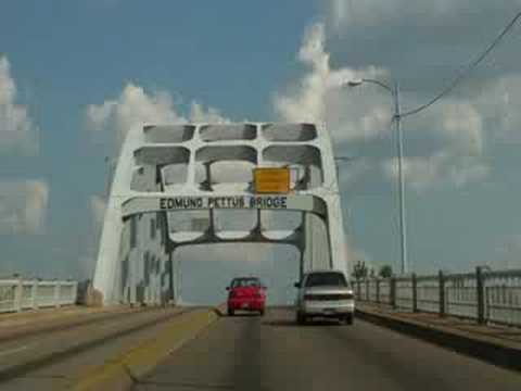 Driving across Edmund Pettus Bridge in Selma, Alabama