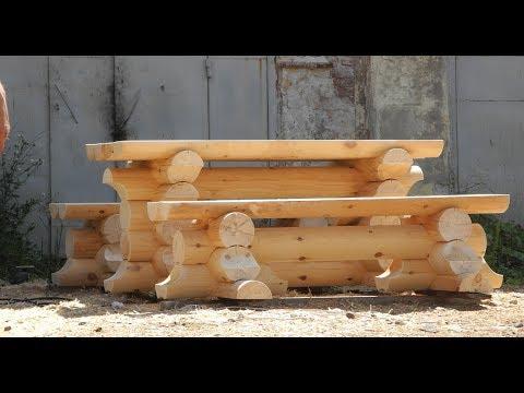 Стол с лавками из оцилиндрованного бревна, 2.0х2.5м. Цена 15.500 руб. ( Бытовки бани в СПб )