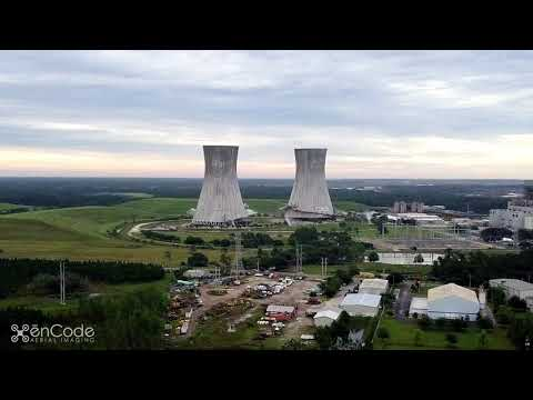 Drone Video of Jacksonville, FL Coal Power Plant Controlled Demolition