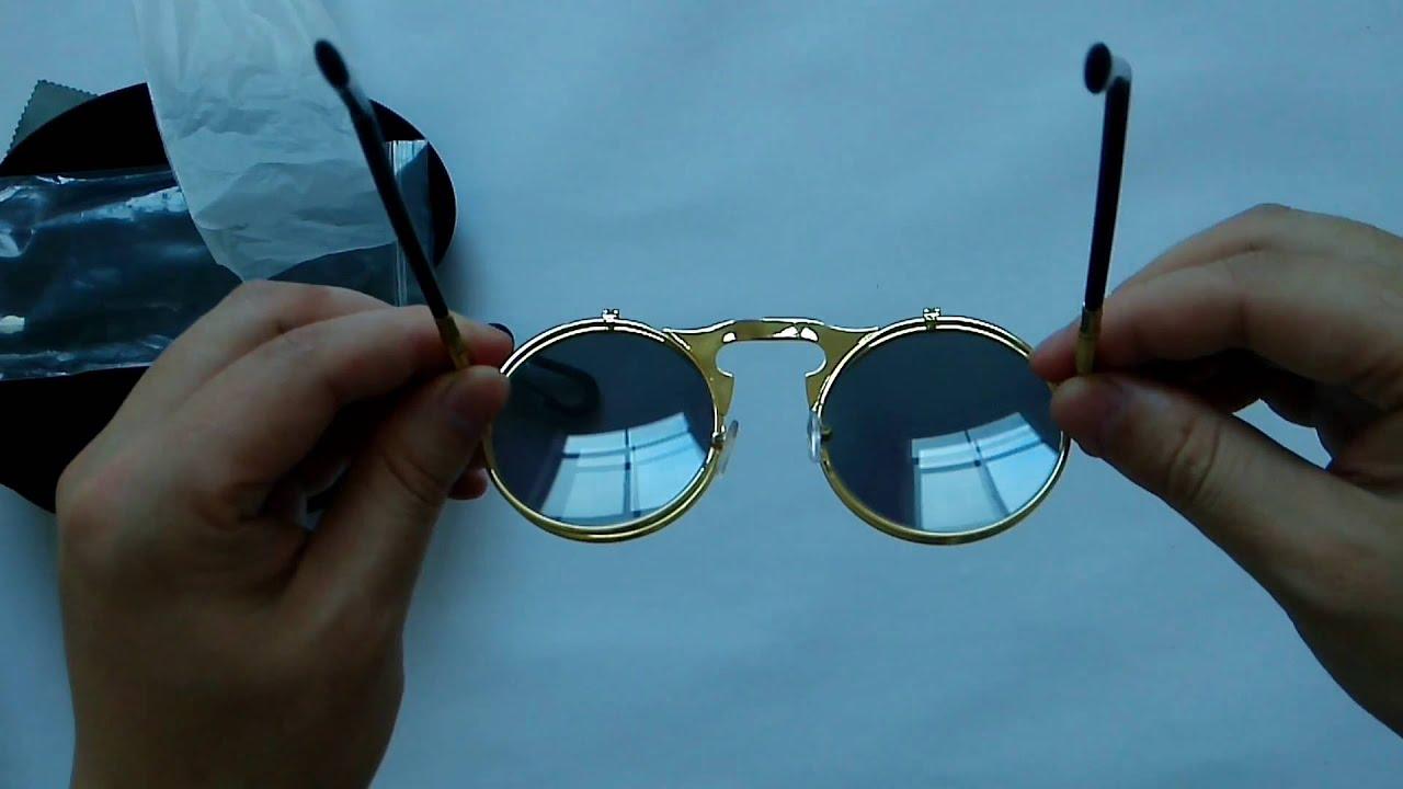 b16343711b7 Gothic Steampunk Round Metal Flip Up Sunglasses - YouTube