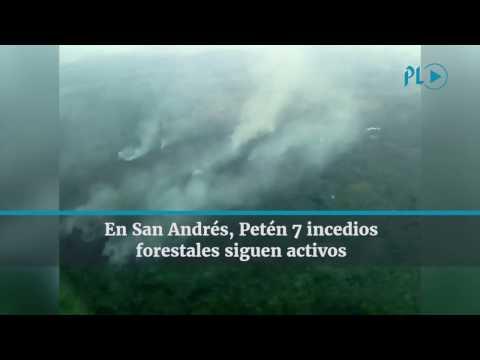 7 incendios forestales activos, en San Andrés, Petén