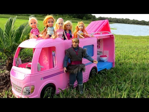CAMPER ! Elsa & Anna toddlers go Camping with Barbie  BuiltIn pool play  Picnic