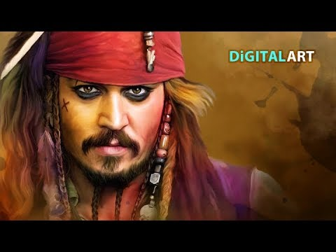 Colourful Digital Painting using smudge technique # Johnny Deep#Pirates of the Caribbean
