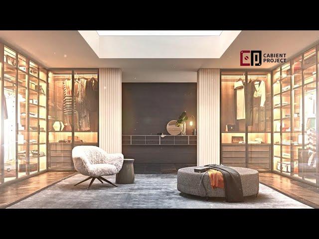 Proyecto de gabinete Armario abierto con estantes y armario abierto negro