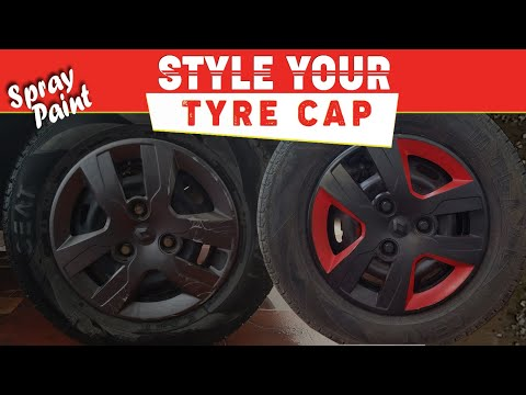 How to Paint your wheel cap using (BLACK & RED) spray paint- DIY Renault Kwid