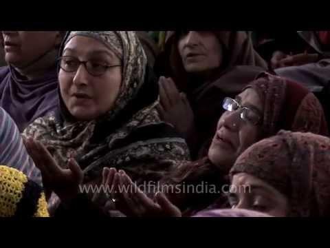 Tearful prayers at Makhdoom Sahib Shrine in Srinagar