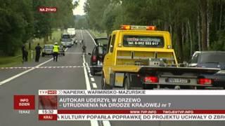 Wypadek autokaru na trasie Ostróda - Warszawa (TVP Info, 11.07.2013)