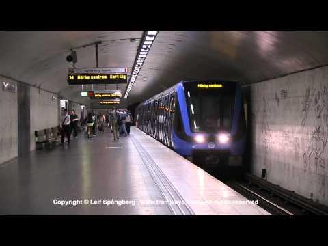SL Tunnelbana tåg / Metro trains at Östermalmstorg station, Stockholm, Sweden