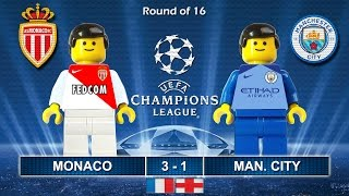 MONACO vs MANCHESTER CITY 3-1 • Champions League 2017 • 15/03/2017 ( Film Lego Football Highlights )
