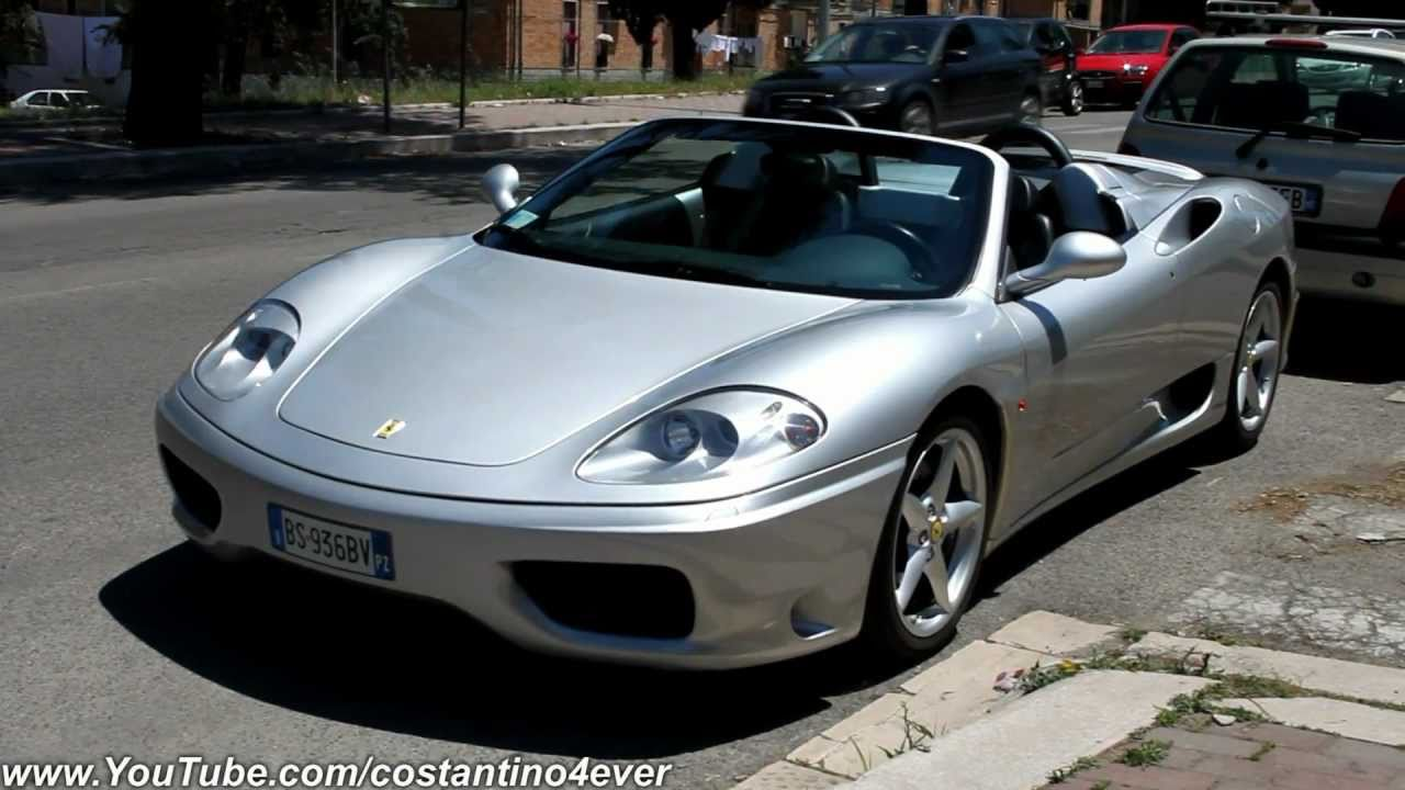 Silver Ferrari 360 Modena Spider On The Road Start Up