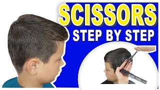 HOW TO CUT BOYS HAIR AT HOME | STEP BY STEP | SCISSOR HAIRCUT TUTORIAL FOR BEGINNERS