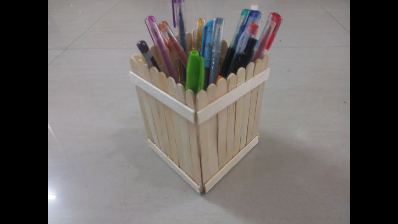 DIY How To Make Pen Stand Using Popsicle Sticks Ice Cream