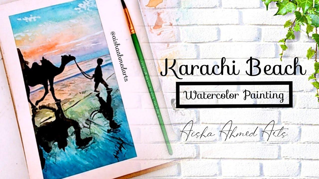Karachi Beach watercolor painting | Clifton | Seaview Karachi