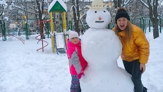 EN BÜYÜK KARDAN ADAM YAPTIK! How To Build The Bigest and Funny SNOWMAN , family fun