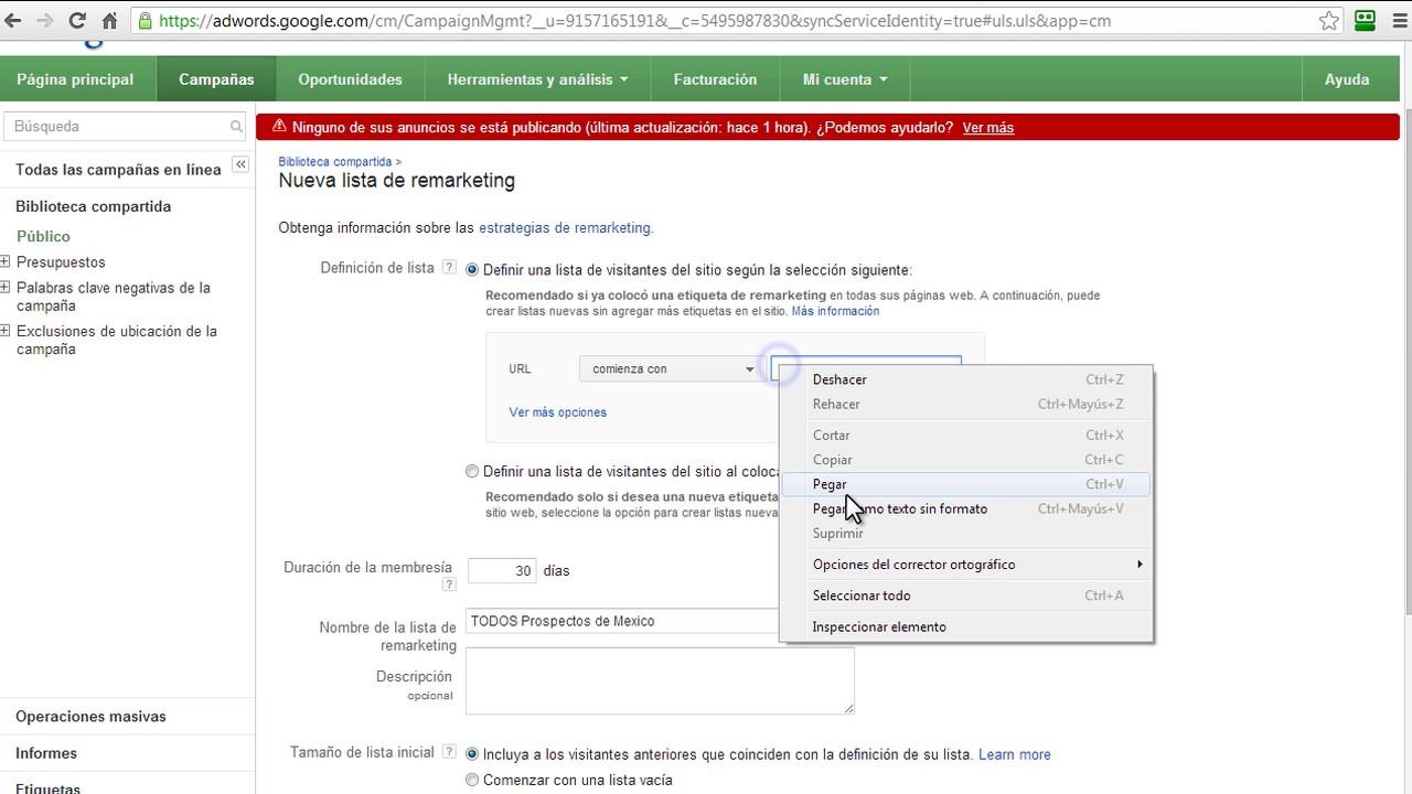 Cómo crear una Lista de Remarketing en Google AdWords – Expertos en AdWords