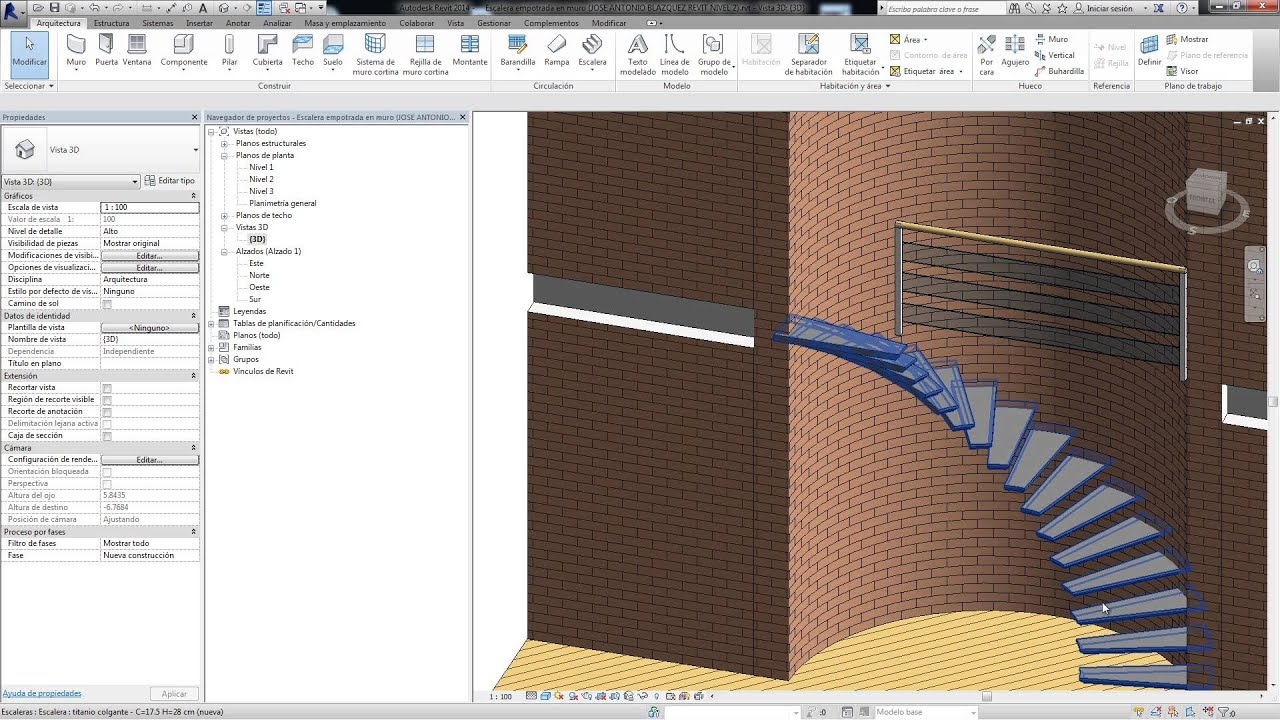 Revit escalera empotrada youtube for Gradas de caracol