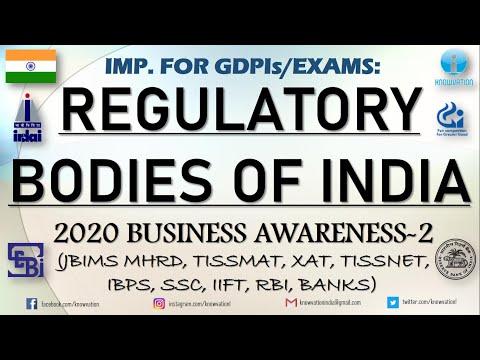 Regulatory Bodies in India   2020 Business Awareness-2   GDPIs   JBIMS MHRD, TISSMAT, RBI, TISSNET