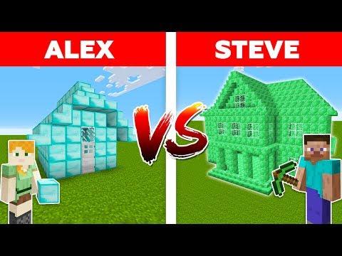 MINECRAFT - ALEX vs STEVE! DIAMOND HOUSE VS EMERALD HOUSE BATTLE / Minecraft Animation #9
