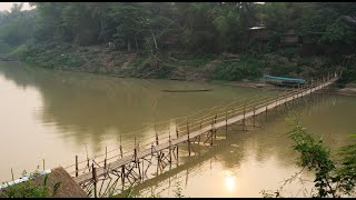 สะพานไม้ไผ่ข้ามแม่น้ำคาน เมืองหลวงพระบาง สปป.ลาว - แม่โขง ออนทัวร์