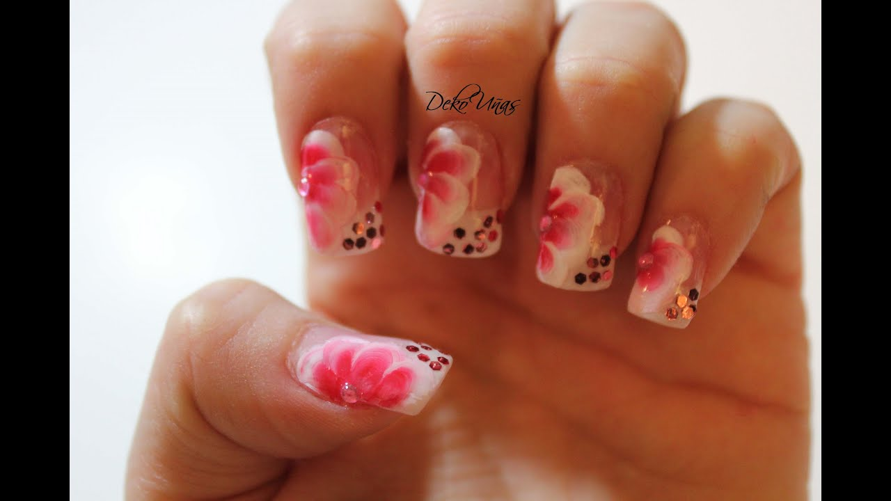 Decoracion de u as con flores one stroke flowers nail for Decoracion de unas de rosas