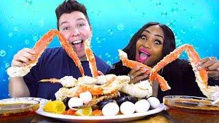Seafood Boil • Jumbo Shrimp, Lobster Tails & King Crab Legs • MUKBANG