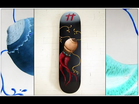 How to paint a custom skateboard deck by payam montazami for Best paint for skateboard decks
