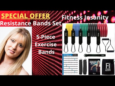 Fitness Insanity Resistance Bands Set 5-Piece Exercise Bands Portable Home Gym Accessories