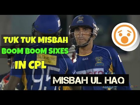 Misbah Ul Haq Blasting Two Huge Sixes For Barbados Tridents In CPL