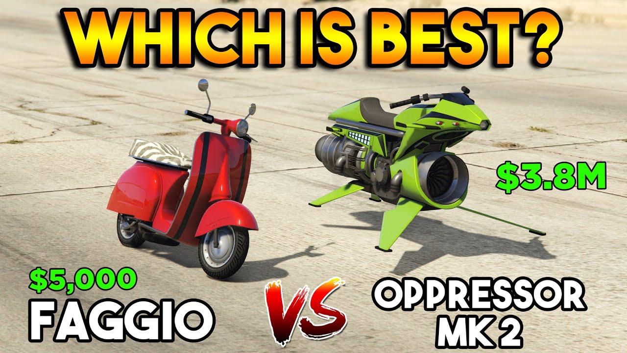 GTA 5 ONLINE : OPPRESSOR MK 2 VS FAGGIO [EXPENSIVE VS CHEAP] (WHICH IS BEST?)