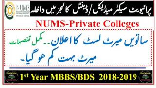 7th Merit List of NUMS Private Medical and Dental Colleges/Merit Dropped