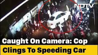 Caught On Camera: Cop Clings To Speeding Car's Bonnet In Madhya Pradesh