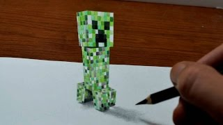 Drawing Minecraft Creeper - 3D Trick Art - Time Lapse