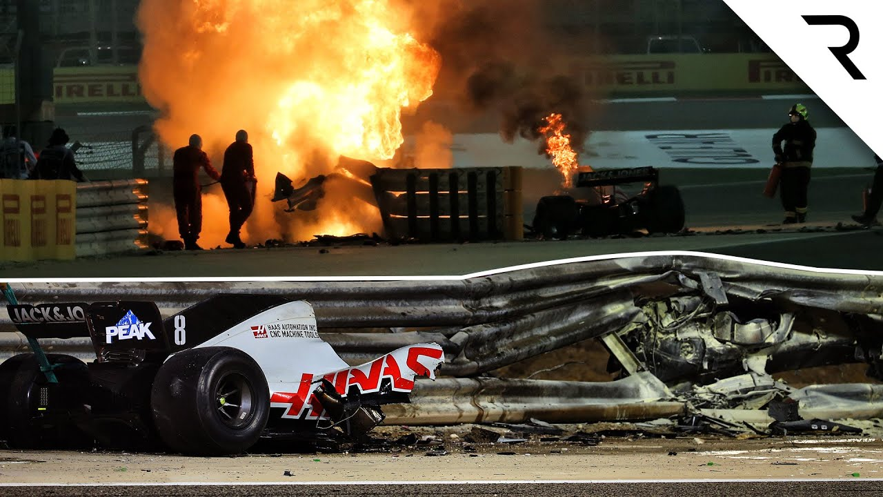 Download How Grosjean survived fireball Bahrain F1 crash that split his car in two