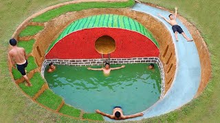 How To Build Swimming Pool And Water Slide Around Secret Underground House