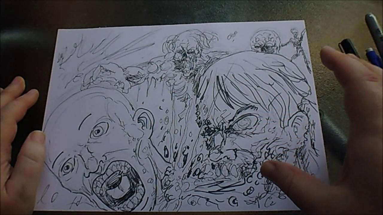 Quick Drawing Zombie Apocalypse Theme Inktober Day 31 Youtube