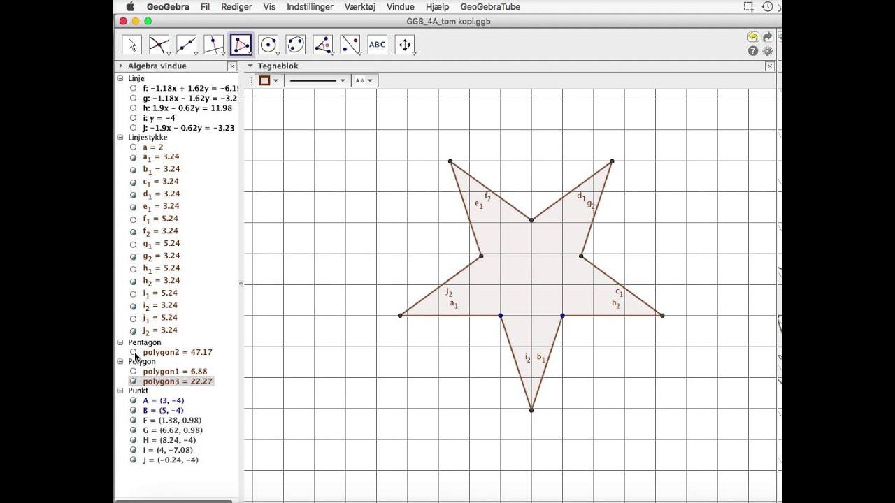 Tegn pentagram i Geogebra