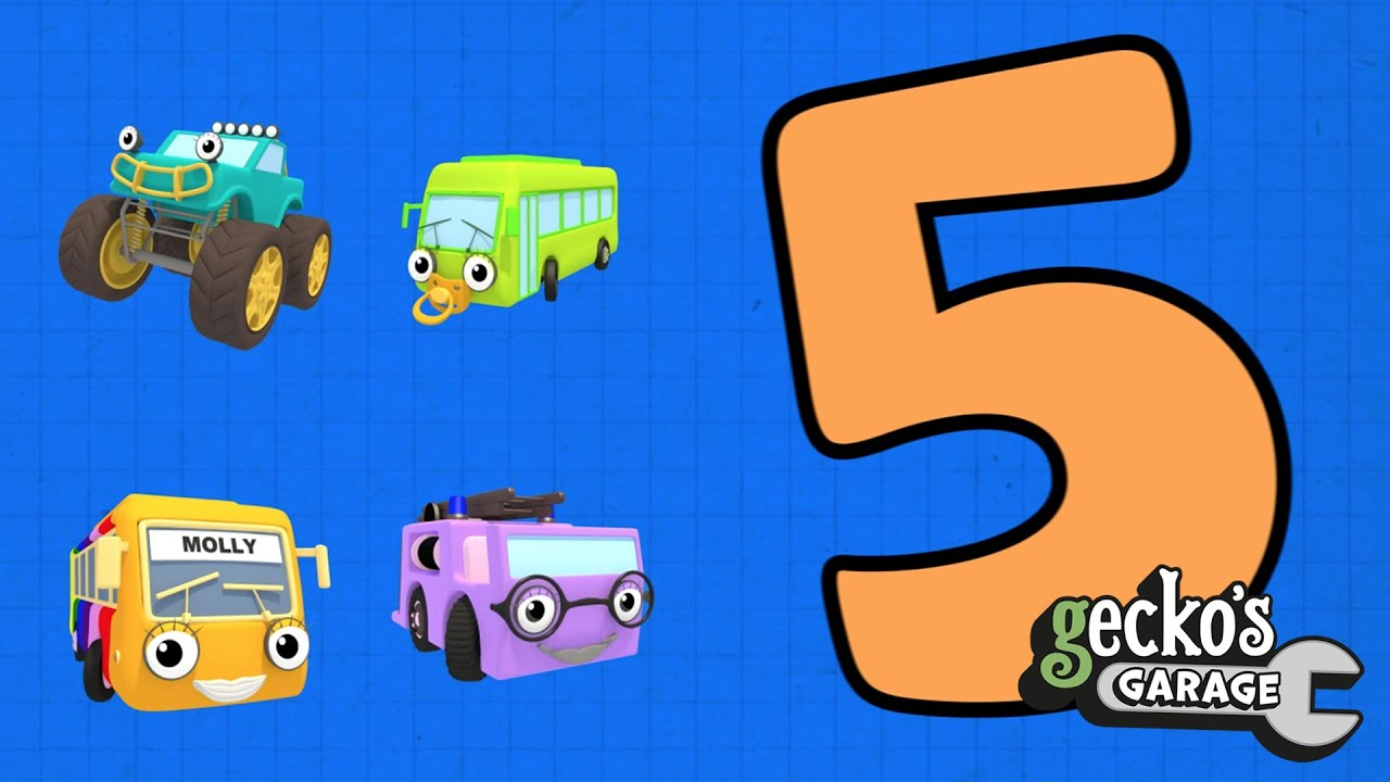 Counting Trucks 123 | Gecko's Garage | Educational Videos For Kids | Baby Truck Videos