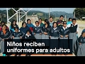 Niños reciben uniformes para adultos - Uniformes - Denise Maerker 10 en punto