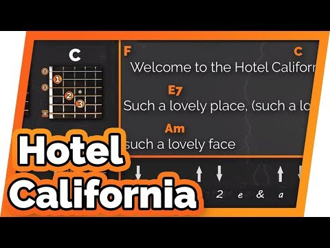 Hotel California  The Eagles  Play Along  Guitar Karaoke Easy Chords