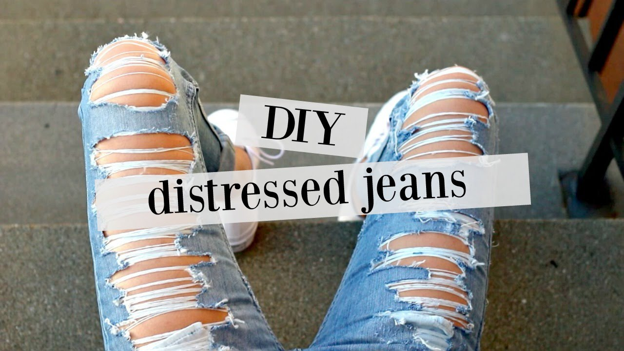 Diy How To Distress Jeans Sew Tell