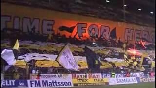 "AIK - DIF Derby - Tifo börjar 2:25  ""TIME FOR HEROES"""