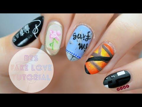 Bts Fake Love Nail Art Tutorial