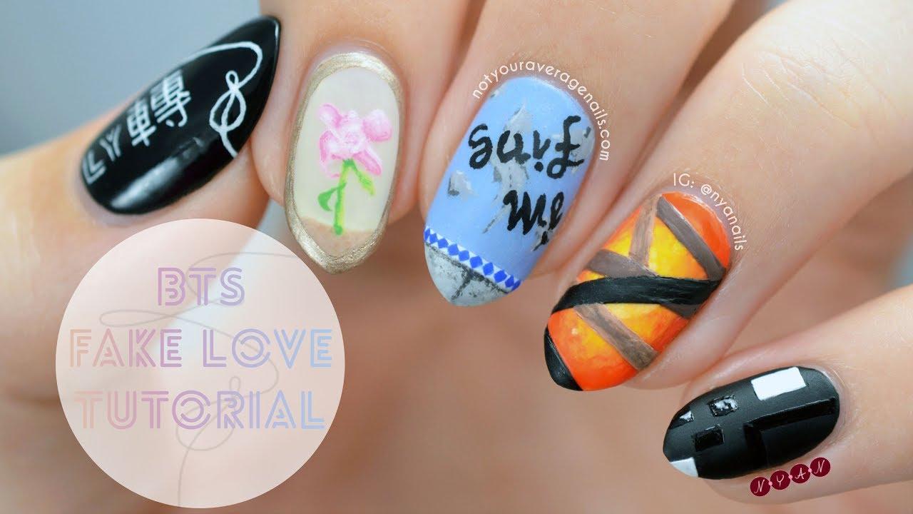 """bts """"fake love"""" nail art tutorial"""