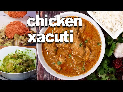 Goan Xacuti Tastiest Recipe   Goan Chicken Curry   Chicken marinated with Green Paste