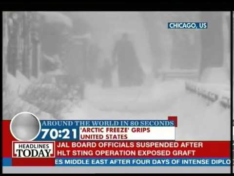 US Midwest under severe snow fall & arctic winds