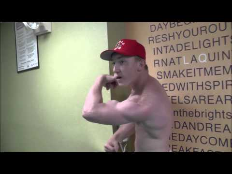 15yo Jake Pumping Biceps with 50lbs Dumbell Curls and Flexing